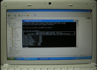 Proses flashing BIOS selesai